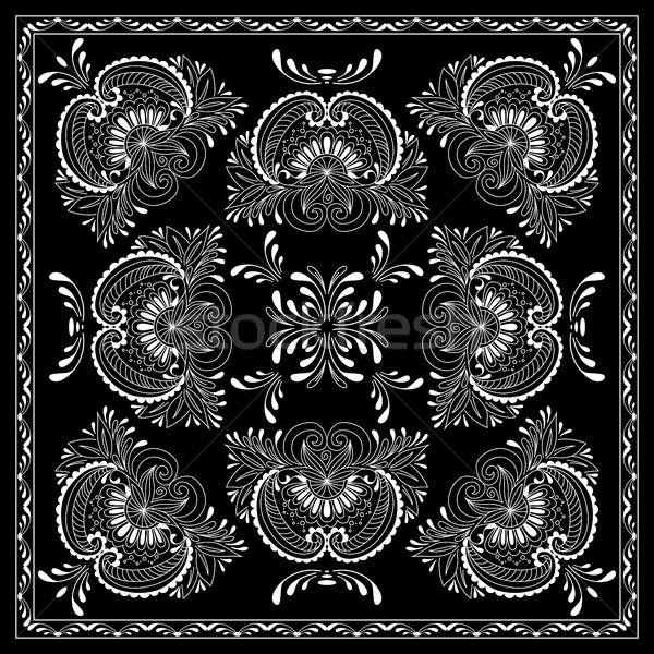 Black and white abstract bandana print with  element henna style Stock photo © anna_solyannikov