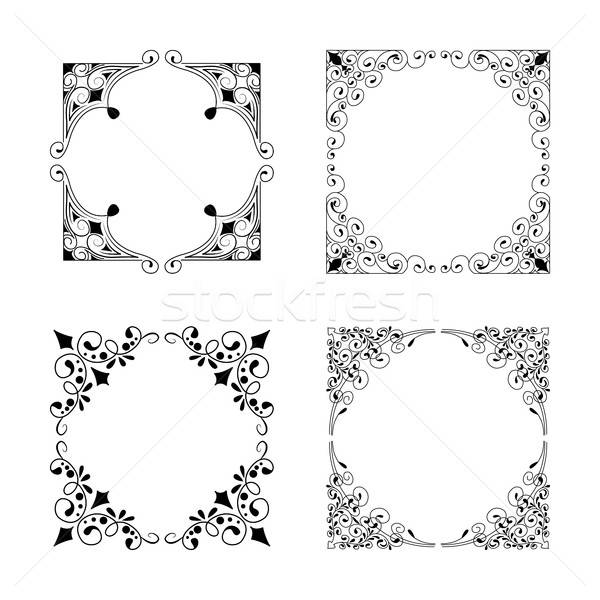 Vintage style square frames collection. Decorative frame set for Stock photo © anna_solyannikov