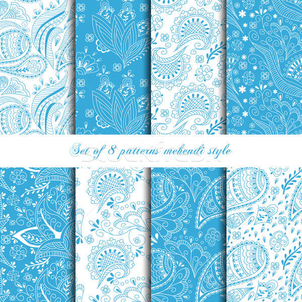 Collection 8 seamless pattern mehendi style in blue color.  Stock photo © anna_solyannikov