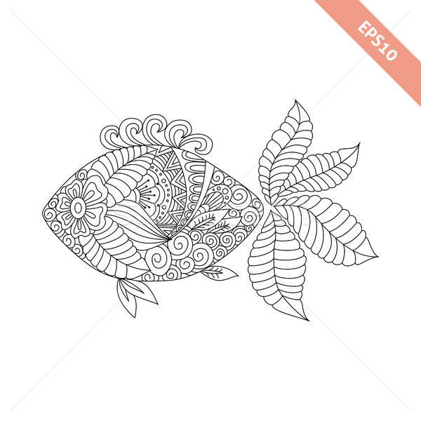 Vector illustration cartoon fish with floral ornament.  Stock photo © anna_solyannikov
