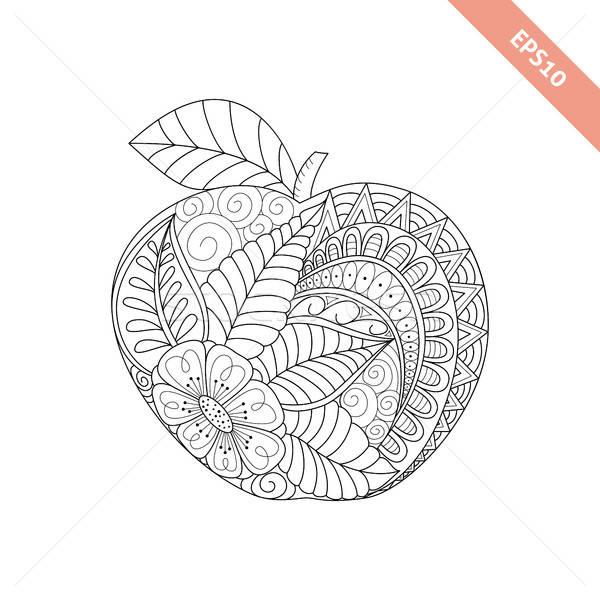 Vector illustration cartoon ornate apple. Coloring book page Stock photo © anna_solyannikov