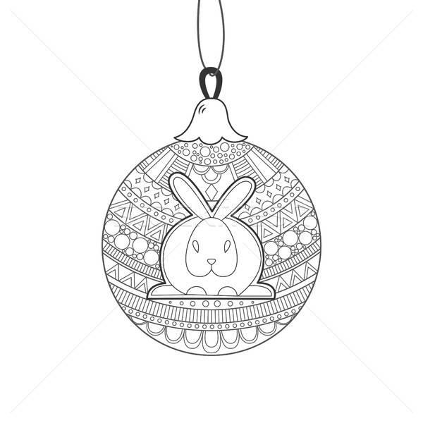 Black line Christmas ball with rabbit and ornament Stock photo © anna_solyannikov