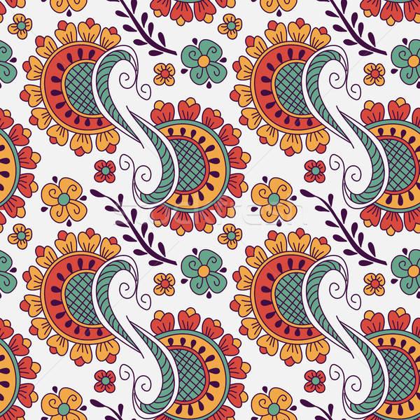 Végtelen minta kézzel rajzolt elemek henna stílus textil Stock fotó © anna_solyannikov