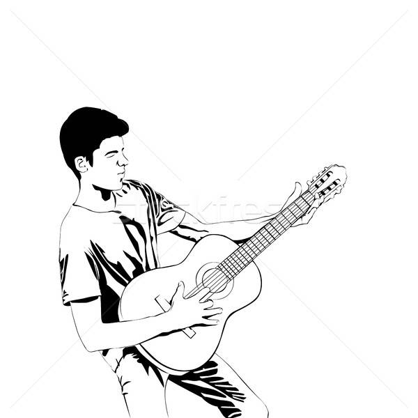 Young man playing the guitar . Man with acoustic guitar line art Stock photo © anna_solyannikov