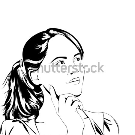 Thinking young woman line art style. Stock photo © anna_solyannikov