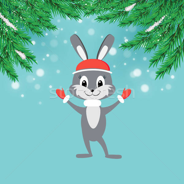 New Year greeting card with cartoon bunny in red hat and mittens Stock photo © anna_solyannikov