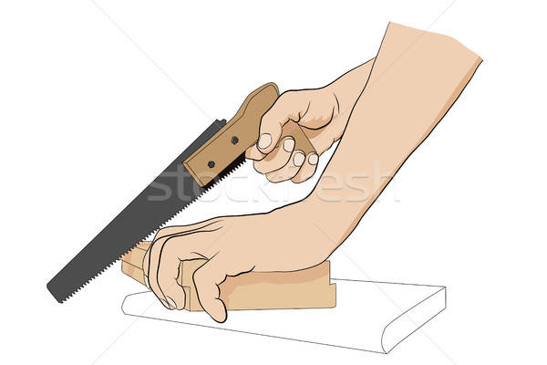 Stock photo: Man holding handsaw.
