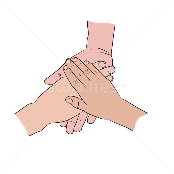Hands on top of each other. Three hands Stock photo © anna_solyannikov
