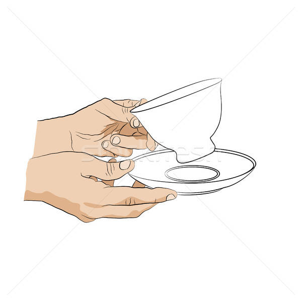 Hands holding cup with saucer.  Stock photo © anna_solyannikov