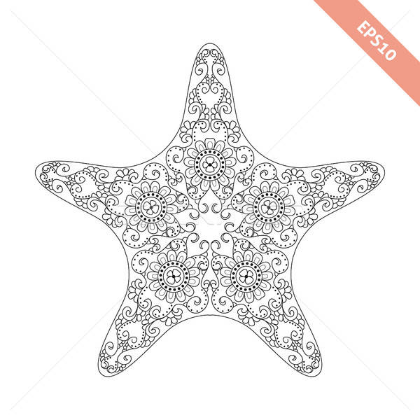 Vector Illustration Cartoon Starfish With Doodle Ornament Vector