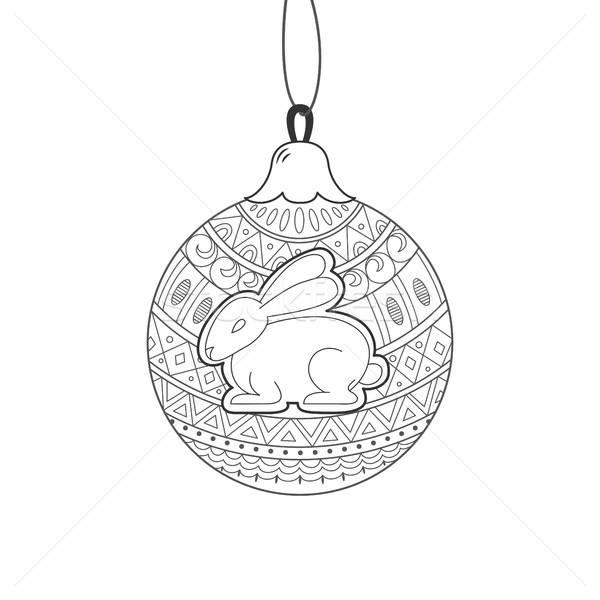 Black line Christmas ball with rabbit  Stock photo © anna_solyannikov