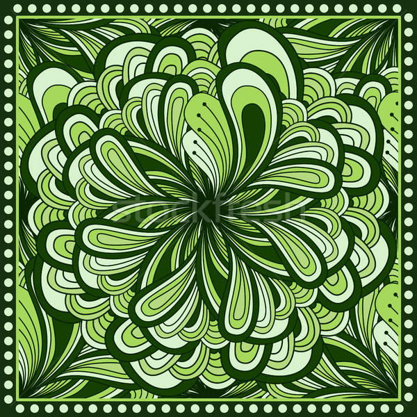 Bandana print with  fantasy flower in green color.  Stock photo © anna_solyannikov