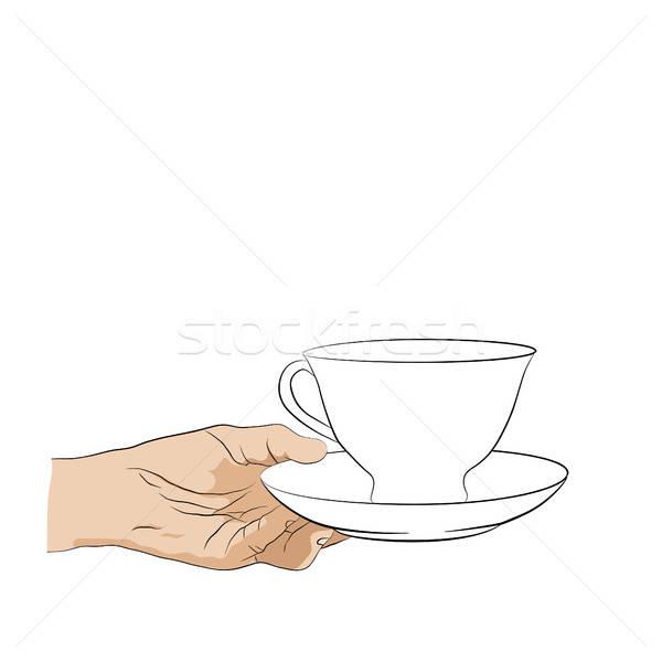 Hands holding cup with saucer. Design element  Stock photo © anna_solyannikov