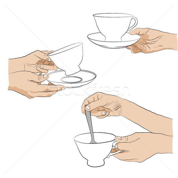 Collection woman hand with cup Stock photo © anna_solyannikov