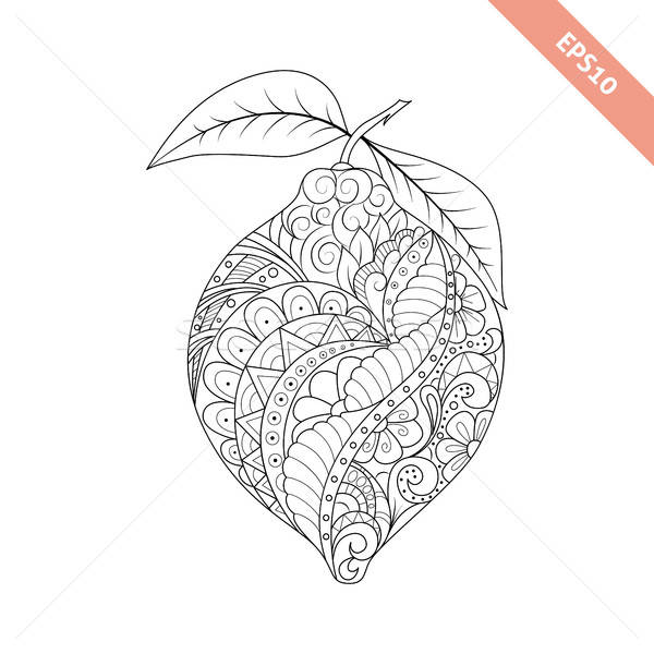 Vector illustration cartoon lemon with floral ornament. Coloring Stock photo © anna_solyannikov