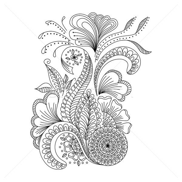 Hand drawn background  in doodle or henna  style.   Stock photo © anna_solyannikov