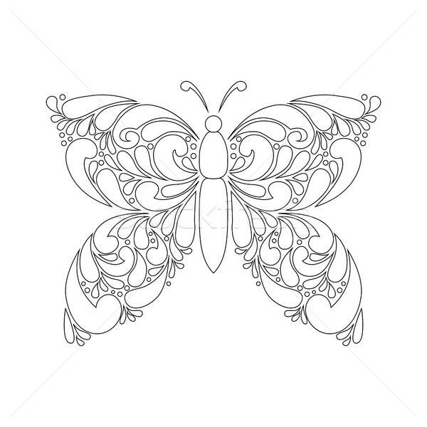 Cute cartoon butterfly with ornament. Stock photo © anna_solyannikov
