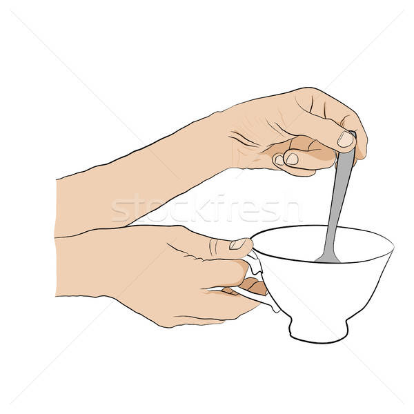 Woman stirs  spoon in  cup of tea. Design element  Stock photo © anna_solyannikov