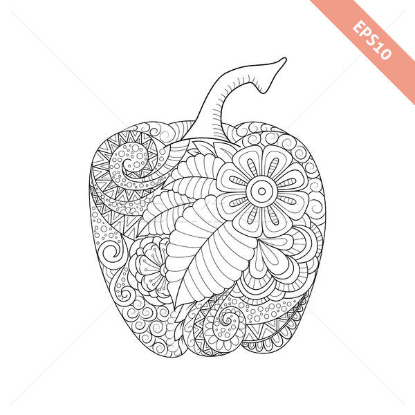 Vector illustration cartoon bell pepper with floral ornament. Co Stock photo © anna_solyannikov