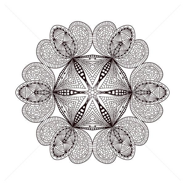 Abstract round ornament. Mandala on white background Stock photo © anna_solyannikov