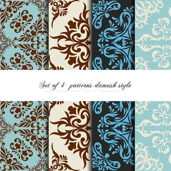 Collection 4 seamless pattern vintage damask style.  Stock photo © anna_solyannikov