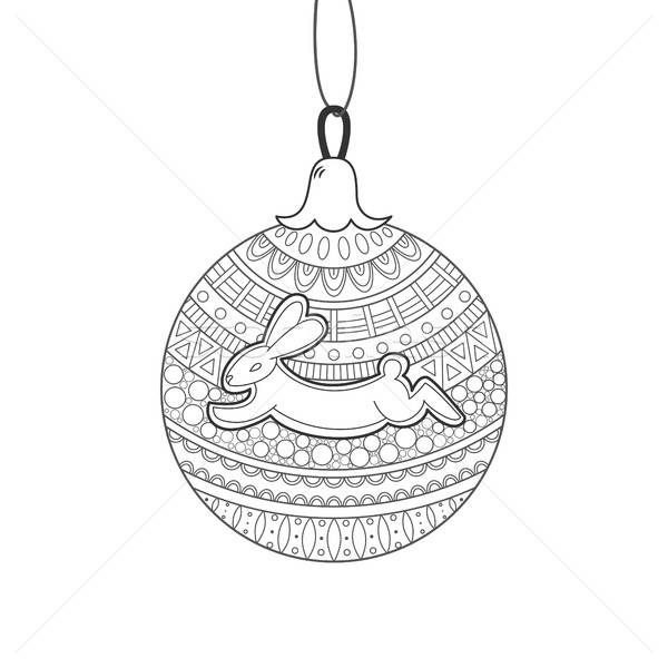 Black line Christmas ball with rabbit and ornament  Stock photo © anna_solyannikov