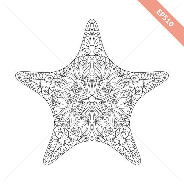 Vector illustration cartoon starfish with doodle ornament.  Stock photo © anna_solyannikov