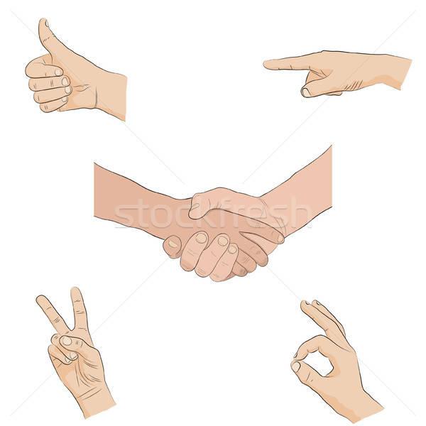 human hands - sign language Stock photo © anna_solyannikov