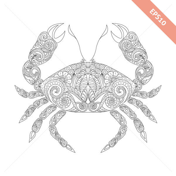 Vector illustration cartoon crab with floral doodle ornament. Stock photo © anna_solyannikov