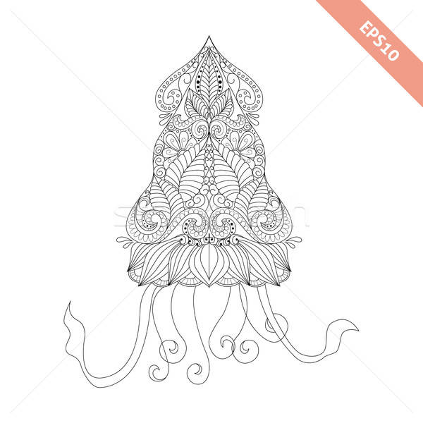 Vector illustration cartoon squid with floral doodle ornament. Stock photo © anna_solyannikov
