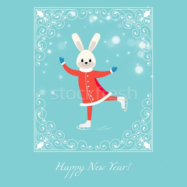 New Year greeting card with cartoon figure skater bunny Stock photo © anna_solyannikov