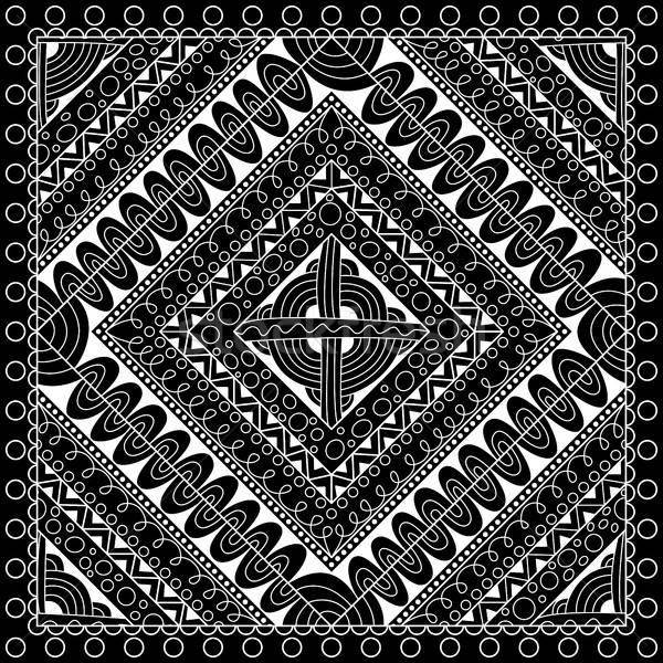Black and white abstract bandana print with geometrical ornament Stock photo © anna_solyannikov