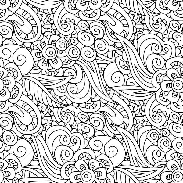 Seamless black and white floral pattern. Background,   textile,  Stock photo © anna_solyannikov