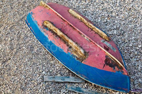 De cabeça para baixo barco mar costa Croácia água Foto stock © anshar