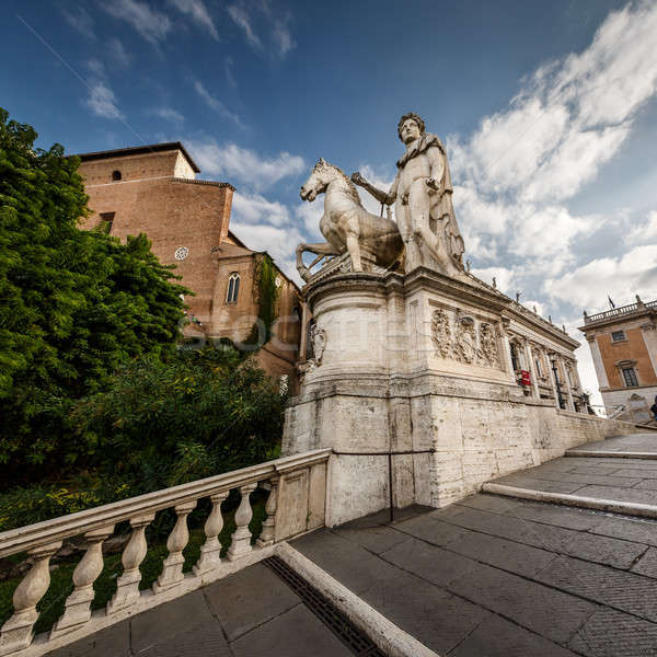 Statue of Castor at the Cordonata Stairs to the Piazza del Campi Stock photo © anshar