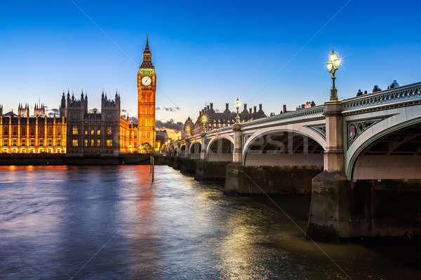 Big Ben, Queen Elizabeth Tower and Wesminster Bridge Illuminated Stock photo © anshar