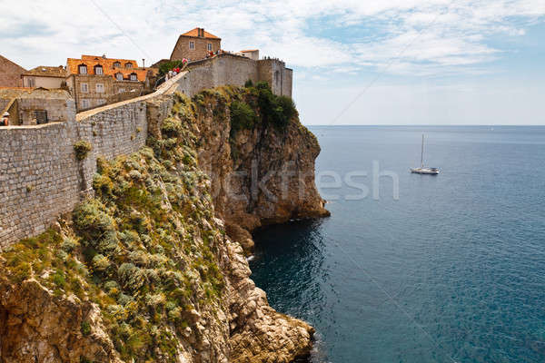 Yacht Approaching Impregnable Walls of Dubrovnik, Croatia Stock photo © anshar