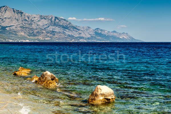Beautiful Adriatic Beach near Split and Biokovo Mountains in Bac Stock photo © anshar