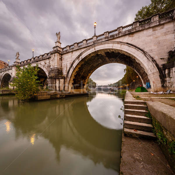 Under the Holy Angel Bridge in the Morning, Rome, Italy Stock photo © anshar