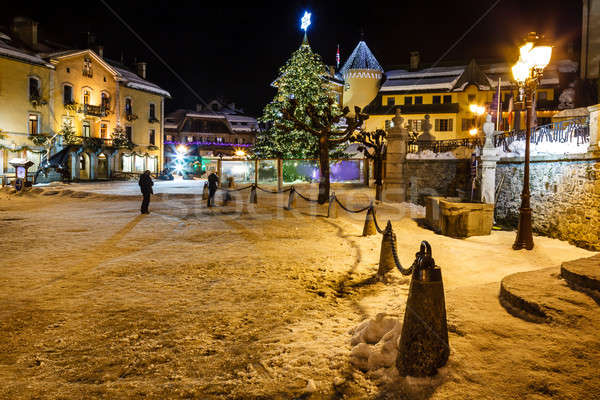 Illuminated Central Square of Megeve on Christmas Eve, French Al Stock photo © anshar