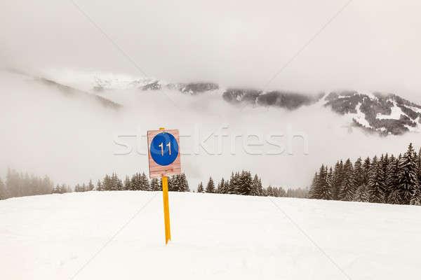 Ski Slope Sign near Megeve in French Alps, France Stock photo © anshar