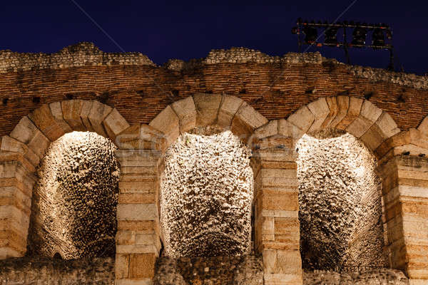 Ancient Roman Amphitheater on Piazza Bra in Verona at Night, Ven Stock photo © anshar