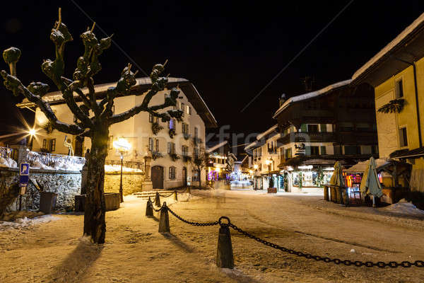 Illuminated Central Square of Megeve in French Alps, France Stock photo © anshar