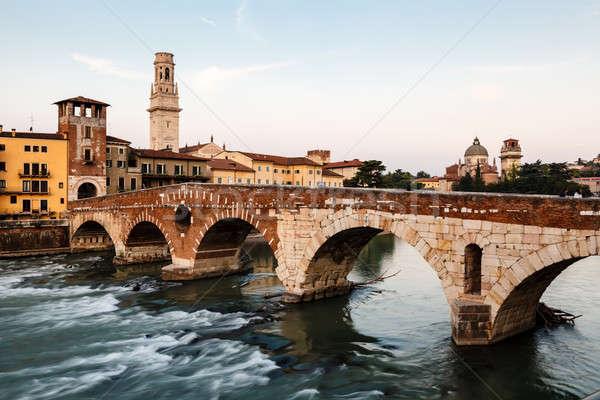 View of Adige River and Saint Peter Bridge in Verona, Veneto, It Stock photo © anshar