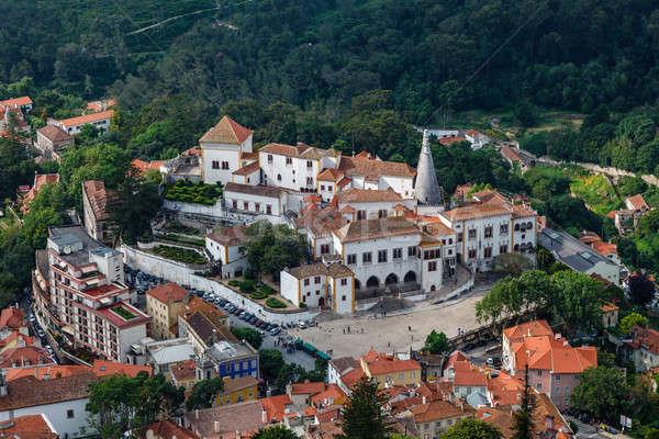 Aerial View on Sintra National Palace from Murish Castle near Li Stock photo © anshar