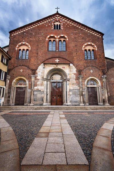 Bazilika Milánó Olaszország épület város kereszt Stock fotó © anshar