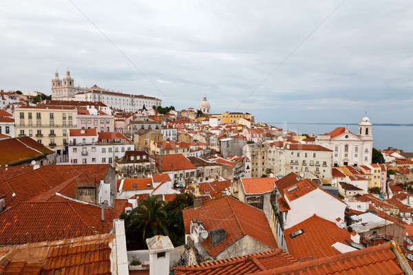 Panorama of Recently Restored Alfama Quarter in Lisbon, Portugal Stock photo © anshar