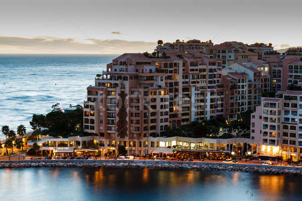 Aerial View on Illuminated Fontvieille and Monaco Harbor, French Stock photo © anshar