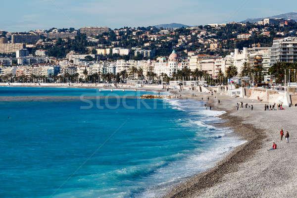 Promenád gyönyörű tengerpart szép francia ház Stock fotó © anshar