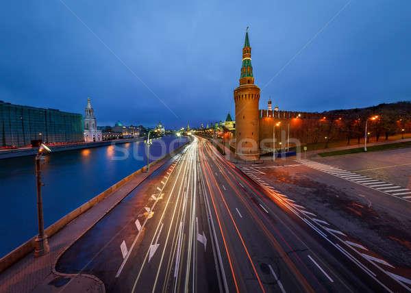 Toren Moskou Kremlin schemering Rusland hemel Stockfoto © anshar